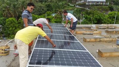Solar panels on concrete roof